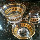 Vintage George Briard Style Glass Hoursdouvers Set 3 Bowls Lots of Gold Mid Cent