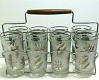 LIBBEY 8 Silver Leaf Frosted Glasses Carrying Caddy Rack BarWare MCM Vintage Mod