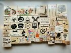 Lot of 50+ Rubber Stamps Craft Stamp Holiday Animals Words Owl Butterfly Cupcake