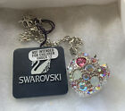 Swarovski Crystal Heart Locket Silver Tone Necklace with Pink  Lt Blue Accents