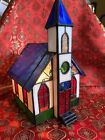 STAINED GLASS CHURCH W STEEPLE NIGHTLIGHT TABLE LAMP 8 TALL