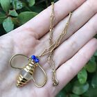 Vintage Bee Clear Frosted Glass Blue Beads Gold Tone Necklace 14