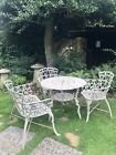 VINTAGE Round GARDEN TABLE & CHAIRS With BENCH - LOVE SEAT!