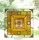 Handcrafted Stain Glass Window 10x10 art browns  golds Art Nouveau style