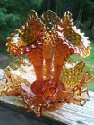 Vintage Fenton Amber Hobnail Glass 3 Horn Epergne Centerpiece Colonial
