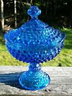 Vintage Fenton 3284 Tall Footed Candy Box With Lid Colonial Blue Hobnail 1964 79