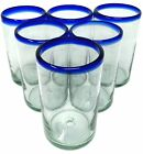 Hand Blown Mexican Drinking Glasses Set of 6 Glasses with Cobalt Blue Rims 14oz
