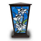 Lily Stained Glass Cremation Vase for Human Ashes Large White