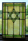 ANTIQUE STAINED GLASS STAR OF DAVID WINDOW