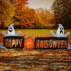 9 Happy Halloween Self Inflatable Sign with Ghosts LED Lighted Decor