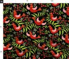 Birds Flowers Leaves Berries Foliage Funky Retro Spoonflower Fabric by the Yard