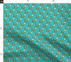 Bright Orange Forest Woodland Turquoise Fox Pup Spoonflower Fabric by the Yard