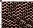 Coral Mint Hearts Black Lungs Pulmonary Doctor Spoonflower Fabric by the Yard