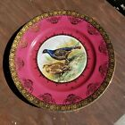 Vintage ST BAVARIA GERMANY CABINET PLATE Pheasant Red with Gold trim