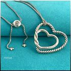 DAVID YURMAN Sterling Silver Continuance Double Heart 36 Adjustable Necklace