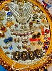 HUGE HIGH END 55 PC VINTAGE RHINESTONE JEWELRY LOT SIGNED BLING
