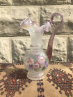 Fenton Art Glass Pink Opalescent handled Vase Pitcher Hand Painted Signed 1996