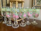 Vintage Set of 6 Pink Green Blue Hand Painted Rose And Plaid Glass Goblets