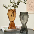 Abstract Human Face Transparent Glass Flower Vase Home Office Living Room Decor