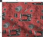 Vintage Sewing Machine Dress Form Thimble Fabric Printed by Spoonflower BTY