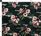 Floral Color Block Pink Roses On Black Spring Fabric Printed by Spoonflower BTY