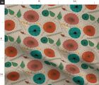 Mid Century Modern Floral Leaves And Flowe Fabric Printed by Spoonflower BTY