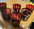 VTG Bohemian Ruby Red Cut to Clear Rocks Tumbler Cocktail Glass Set of 6