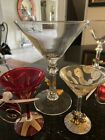 Clear Martini Glasses Set of 6 With Enhancer and Lolita Mini Happy Holidays