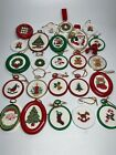 VINTAGE Completed Framed Mini Cross Stitch Christmas Ornaments Lot 24