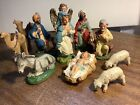 Vintage nativity set 11 pc chalkware made in Italy