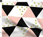 Blush Black Gold Triangle Cheater Quilt Baby Spoonflower Fabric by the Yard