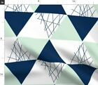 Navy Mint Triangle Cheater Quilt Baby Geometric Spoonflower Fabric by the Yard