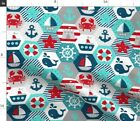Nautical Baby Hexagonal Cheater Quilt Red Blue Spoonflower Fabric by the Yard