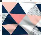 Blush Navy Grey Dot Quilt Triangle Cheater Baby Spoonflower Fabric by the Yard