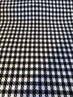 6 Yards 62 Wide Of Black  White Tooth Hound Light Weight Wool ONS 1970s Vtg
