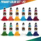 WORLD FAMOUS Tattoo Inks Primary Bright Color Set 3 of 12 Bottles 1 oz Original