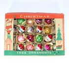Fantasia Vintage 1950s Box of 19 Poland Glass Ornaments Painted Teardrop Round