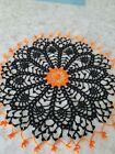 Halloween black and orange spider web crochet lace doily 14 inch handmade in USA