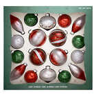 Hand Decorated Glass Ornaments Red Green White 18 piece Christmas Tree Decor