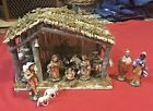 Vintage Sears Nativity Set Hand Painted WOODEN Complete 12 Pc Creche Box 97136