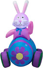 AJY 6 Feet Happy Easter Bunny Driving Car Inflatable Blow Up Indoor Outdoor Yard