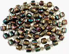 Vintage Wired CARNIVAL PEACOCK Barrel Glass Bead 44 Inch Long Necklace Heavy