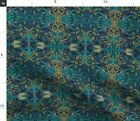 Teal Confessions Dark Art Nouveau Arts Decor Spoonflower Fabric by the Yard