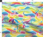 Rainbow Wave Mosaic Home Decor Stained Glass Fabric Printed by Spoonflower BTY