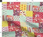 Spring Cheater Quilt Patchwork Squares Block Spoonflower Fabric by the Yard