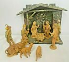 Fontanini Nativity Set 5 Inch 11 Resin Figures  Wooden Stable Depose Italy1993