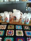 Knox Oil OKLAHOMA INDIAN GLASS TEA SET w 8 glasses and pitcher promotional item