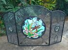 Tiffany Style Stained Glass Look Dragonfly Decorative Fireplace Screen 3 Panel