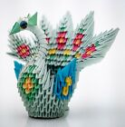 An Incredibly intricate handmade colourful paper 3D Origami Swan