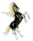 Sculpture Horse Winged Horse Pegasus Glass Of Lampwork Murano Handmade With Gold